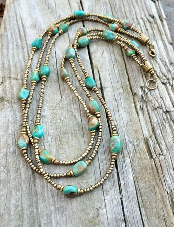 Multistrand Necklace Turquoise Necklace Boho by RusticaJewelry - Recommended by