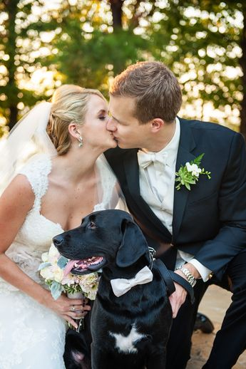 Matching Ivory Dog Bow Tie. Wedding. Georgia. Bride and Groom with dog.