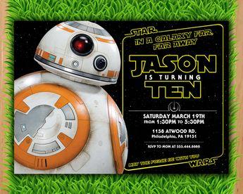 Bb8 Invitation The Last Jedi Star Wars Birthday Invitatio