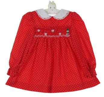 c4b5ba17f1ef Polly Flinders Red Dotted Smocked Dress with Snowman Embroidery $50.00  #PollyFlindersToddlerDresses #PollyFlindersChristmasDresses