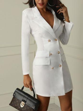 V-Neck Double Breasted Blazer Dress