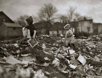 Children going through Whitman Street dump, Pawtucket, Rhode Island, by Lewis W. Hine 1912 [1024 × 786]