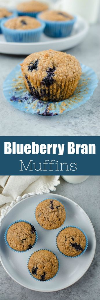 Blueberry Bran Muffins - healthy and hearty muffins made with Greek yogurt, wheat bran, and fresh blueberries. Great for breakfast meal prep.