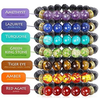 Energy Healing 7 Chakras With Lava Rock Beads Bracelet Beautiful And Natural Provides Healing And Pr