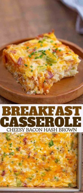 Breakfast Casserole made with eggs, bacon, shredded potatoes, and cheese is the PERFECT make-ahead breakfast for busy mornings or holidays! #eggs #breakfast #brunch #bacon #cheese #casserole #breakfastcasserole #holidays #christmas #easter #dinnerthendessert