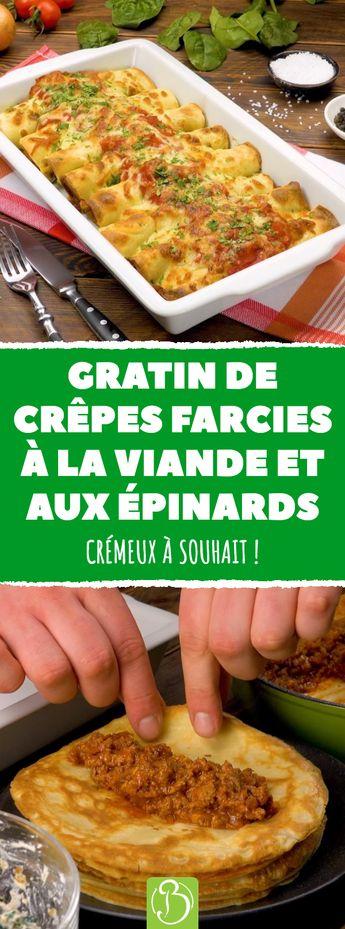 Gratin de crêpes farcies à la viande et aux épinards.  Crémeux à souhait ! #gratin #recette #crepe #viande #hachée #épinards #ricotta #mozzarella
