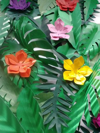 Tropical Leaves 30 Large Paper 6 Small Tropical Flowers DIY Tropical Backdrop Safari Decor Jungle Party Theme Tropical Baby Shower Safari