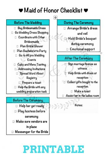 maid of honorbridesmaid printable pack bridal shower checklist bachelorette party checklist