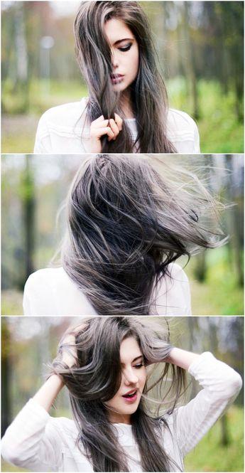 Trendy Hair Style : Grey Blue Wisps: Dreamy Hair Color for Dark Hair