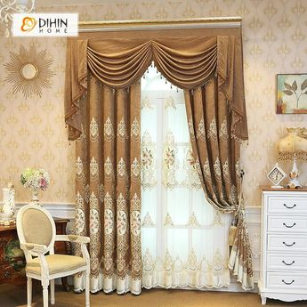 DIHIN HOME White Pattern Embroidered Brown Valance ,Blackout Curtains Grommet Window Curtain for Living Room ,52x84-inch,1 Panel