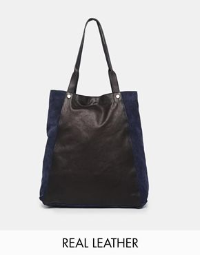 be39eb4fbc ASOS Leather And Suede Shopper Bag