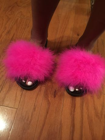 699fb75576e1 Pink Milkshake Faux Fur Slippers fuzzy slides