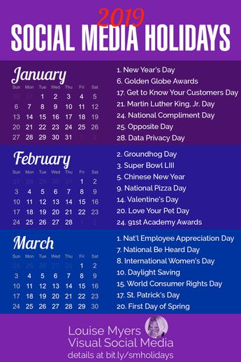 Social media marketing tips: Try these Winter 2019 holidays to heat up your posts and promotions. Click to blog for dozens more holiday marketing ideas! FREE printable calendar monthly for small business owners, entrepreneurs, and bloggers. | #LouiseM #ContentMarketing #SmallBusinessTips #Winter2019 #Printable #Holidays #SocialMediaMarketing #SMM