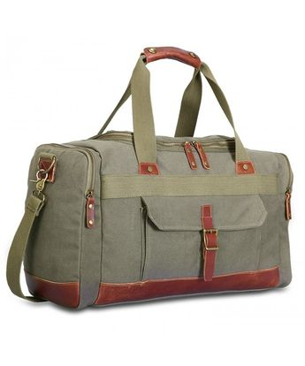 Canvas Travel Duffel Bag Shoulder Bag Weekend Overnight Holdall Bag - Green  - CD12O0T6DSI 3f89f7ba7dc0e