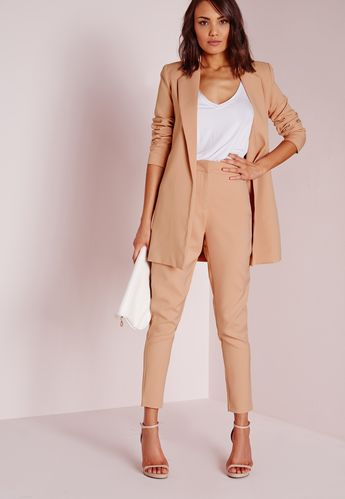 Cigarette trousers are a classic wardrobe staple and a stylish garm every girl should own. In ageless nude, with front zip and clasp fastening with a tailored leg, pair with a crisp white shirt and barely there heels for a sleek work wear l...