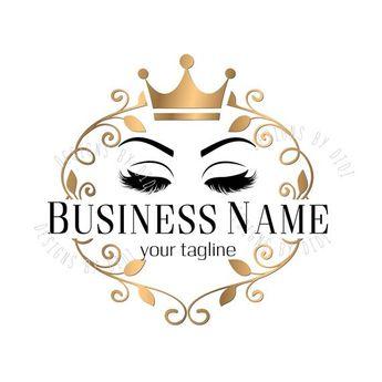 Custom logo lash, eyelash logo, gold pink lashes crown logo