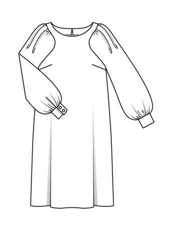 5691702a617011c Платье с фигурными проймами - выкройка № 115 из журнала 1/2018 Burda –  выкройки