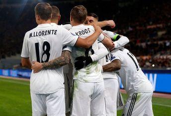 Gareth Bale , of Real Madrid celebrates his goal whit teammates...