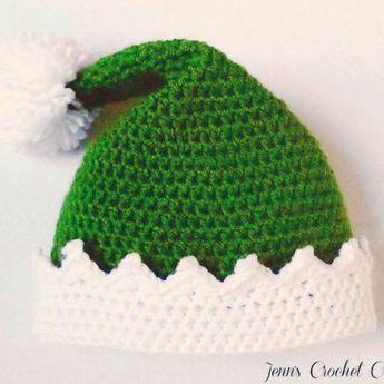 Elf Hat for Kids, Elf Hat Baby, Elf Hat, Festive Hats, Crochet Elf Hat, Child Elf Hat, Green Elf Hat, Christmas Crochet Hats, Photo Prop
