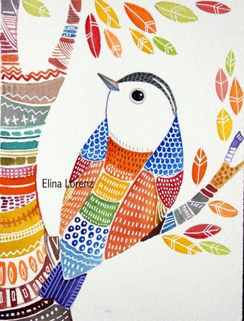 Items similar to Valentine's day Sale Bird Painting-Wall Art-Home decor-Room Decor-Colorful Art - Bird- Folk Art - print from Original on Etsy