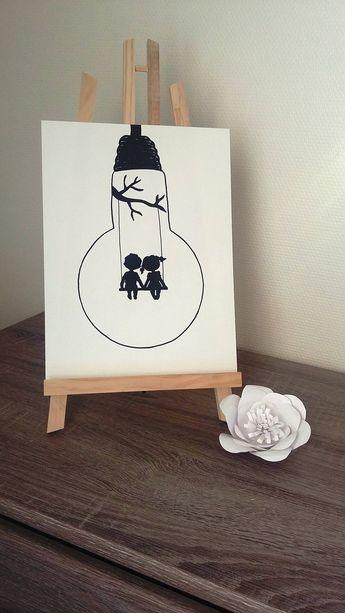 """Affiche Illustration Noir et blanc ampoule """" là-bas """""""