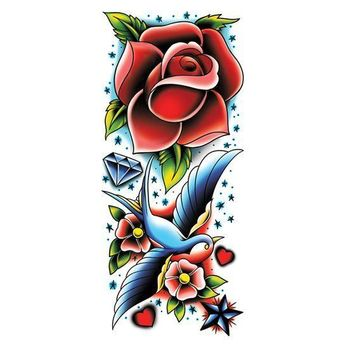 Rose and Sparrow Sleeve Temporary Tattoo