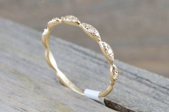 14kt Yellow Gold Diamond Ring Marquis Design Antique Crown Vintage Design Rope Classic Stackable