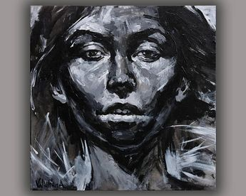 Black and white art Lady portrait painting Acrylic face painting on canvas Female portrait Young woman Abstract painting Modern art Wall art