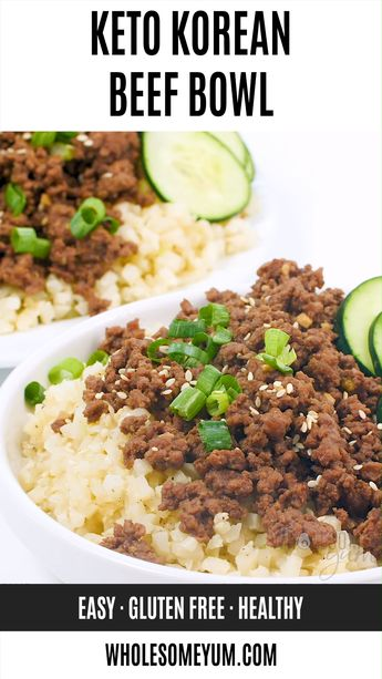 Easy Keto Korean Ground Beef Bowl Recipe | Wholesome Yum