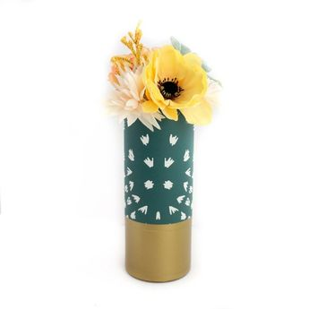 Emerald Ikat Print Pattern Wrapped Glass Flower Vase with Matte Gold Base