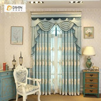 DIHIN HOME Elegant Embroidered Light Blue Valance,Blackout Curtains Grommet Window Curtain for Living Room ,52x84-inch,1 Panel