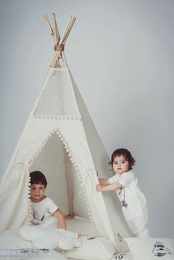 Kids Teepee with Poles from Natural Canvas: Indoor Teepee for Kids Tipi, Wigwam for Pow Wow birthday
