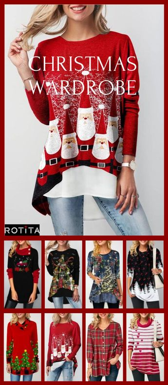"""""""Nine Tops, One costume,For Christmas"""".Every Fashion  woman wants to look flawless when celebrating this big holiday.I love these casual Christmas day outfits! Sometimes I want to dress for the holiday but NOT wear a dress so this casual Christmas day top is perfect!#rotita#christmas#christmasideas#christmasoutfits#christmastops#christmaswardrobe#costume"""