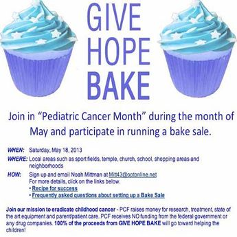"Join in ""Pediatric Cancer Month"" during the month of #May and participate in running a #bakeSale on Saturday, May 18th!"