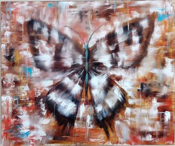 """Original Big Butterfly, Oil Painting on canvas Gift for her 19.6""""x23.5"""" Gift for him"""