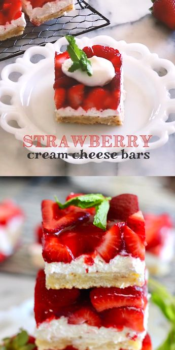 Strawberry Cream Cheese Bars - You'll LOVE this dessert recipe! | Buttery shortbread crust, creamy cheesecake filling, and fresh glazed strawberry bars - so delicious! | #TheSeasideBaker #strawberrydessert See this and other fabulous recipes at TheSeasideBaker.com