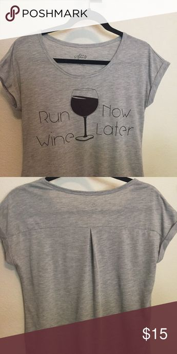 Graphic Tee Run Now Wine Later Cute soft Tee in excellent condition Style and Company Sport Tops Tees - Short Sleeve