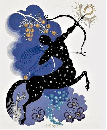 ERTE Matted 1987 Print Art DECO Astrology Sign SAGITTARIUS Symbols Centaur Horoscope Glyphs Flower C