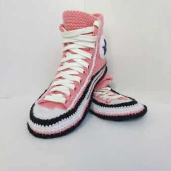 5f1b25c597b4 Knitted Converse slippers 39 Knitted house slippers women Converse boots  Crochet converse sneaker Socks with