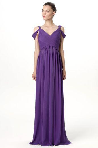 5b221ce2b31 Unique Off-the-shoulder Chiffon Purple Long Bridesmaid Wedding Guest Dresses