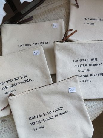 Canvas Quote bags @ Shore Chic..