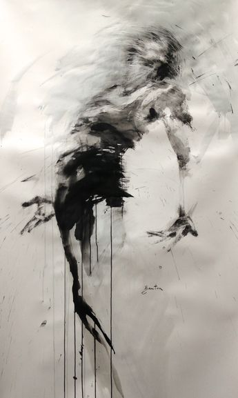 Danse, ink on paper, 148x83cm ewa hauton #dance #blackandwhite #ink #painting