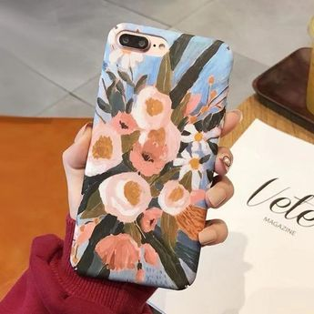 LACK Retro oil painting flowers Leaf Phone Case For iphone XS Max XR X 6 6S 7 8 Plus Fashion Art Colorful Leaves Hard Back Cover