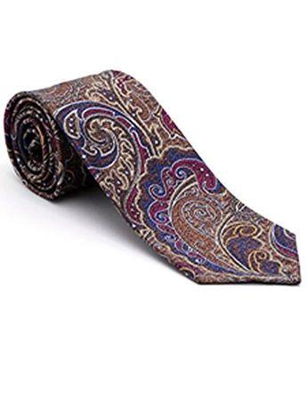 b987b3098839 Robert Talbott Blue with Paisley Design Yarn Dyed Overprint Seven Fold Tie