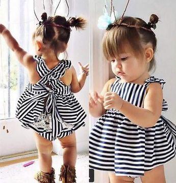 Summer fashion cute baby girl dress sleeveless striped dress+shorts