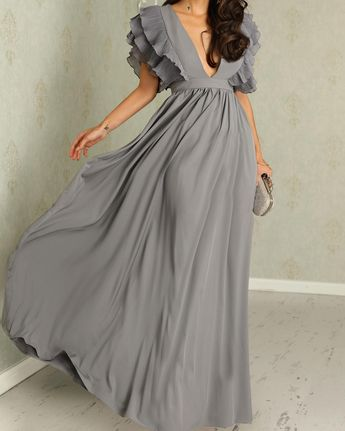 Plunge Layered Ruffles Detail Ruched Maxi Dress