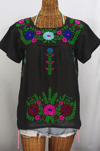 b4cf27e9906cc0 Mexican Peasant Blouse Top Hand Embroidered  La by Sirenology