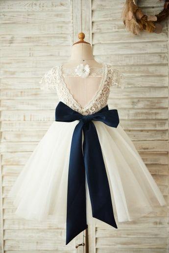 Short Sleeves V Back Lace Tulle Wedding Flower Girl Dress with Navy Blue Belt