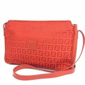 b31575e0485 Fendi Mint Condition Early Canvas Leather Multiple Compartment Shoulder Bag