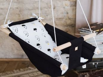 Baby linen indoor and outdoor swing CLOUD, hanging cradle, hammock for toddlers and kids, 1st birthd